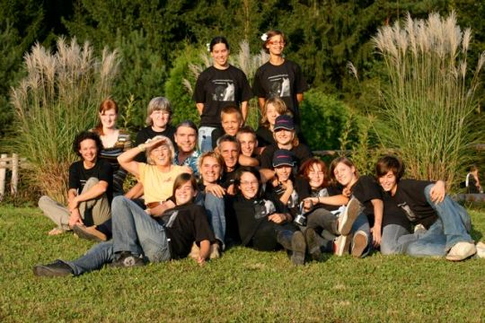 ere are the group of students who gathered for the 4 day opening events of the Kaja & Grom Ranch and TTEAM/TTouch/Animal Ambassador Center Slovenia.