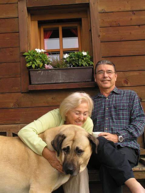 rejuvenation - early morning coffee in slovenia Roland and I with this lovely dog that Darja rescued from a shelter.