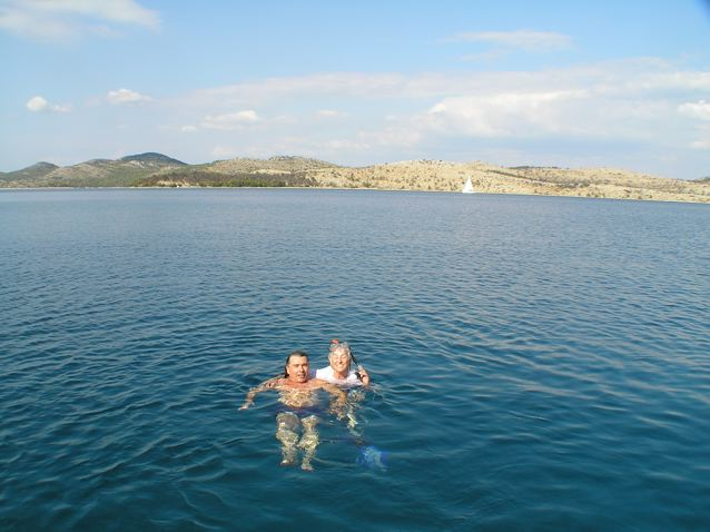 Roland and I in the Adriatic Sea. it was <em>brrrr</em> at first but then delightful.