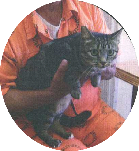 """Prisoner Wayne Gregory with his """"cellmate,"""" Nibbles"""